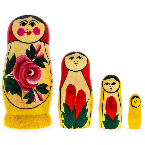 4 Pieces Semenov Style Red Scarf Matryoshka Russian Wooden Nesting Dolls by BestPysanky