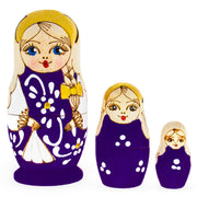 3 Pieces Purple Woodburning Style Matryoshka Russian Wooden Nesting Dolls by BestPysanky