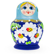 Buy Online Gift Shop Beautiful Wooden Matryoshka with Light Blue Color Hood and Flowers Russian Nesting Dolls