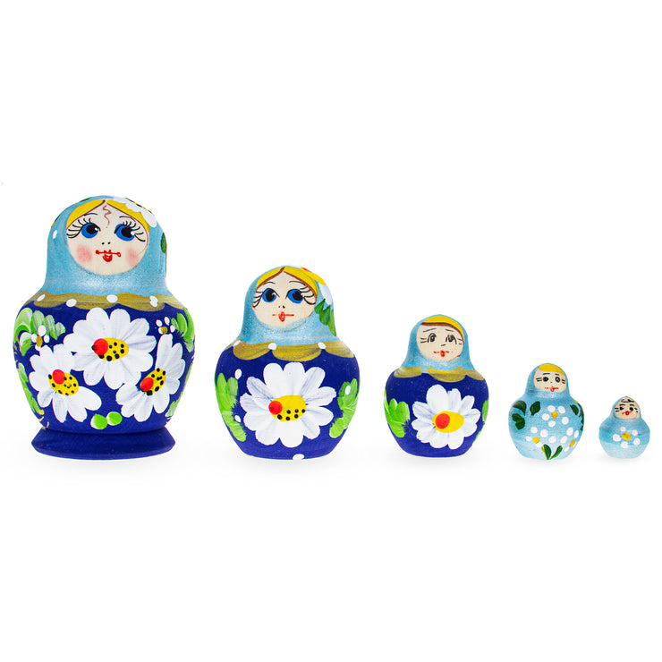 Beautiful Wooden Matryoshka with Light Blue Color Hood and Flowers Russian Nesting Dolls by BestPysanky