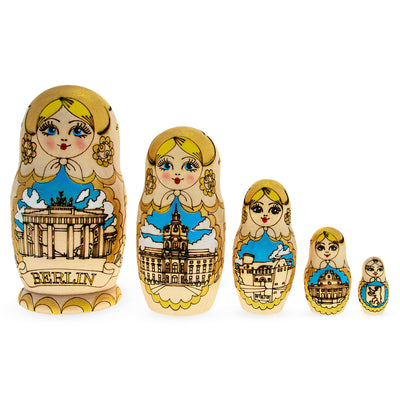5 Pieces City of Berlin, Germany Woodburning Matryoshka Russian Wooden Nesting Dolls by BestPysanky