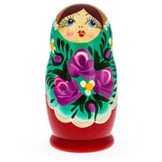 Buy Online Gift Shop Beautiful Wooden Matryoshka with Green Color Hood and Flowers Russian Nesting Dolls