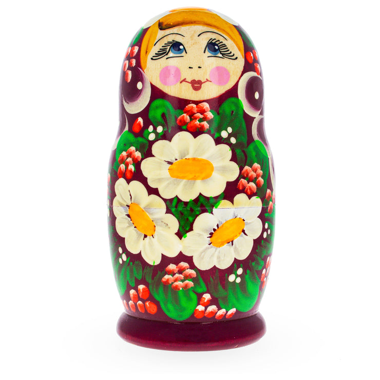 Buy Online Gift Shop Beautiful Wooden Matryoshka with Red Color Hood and Flowers Russian Nesting Dolls