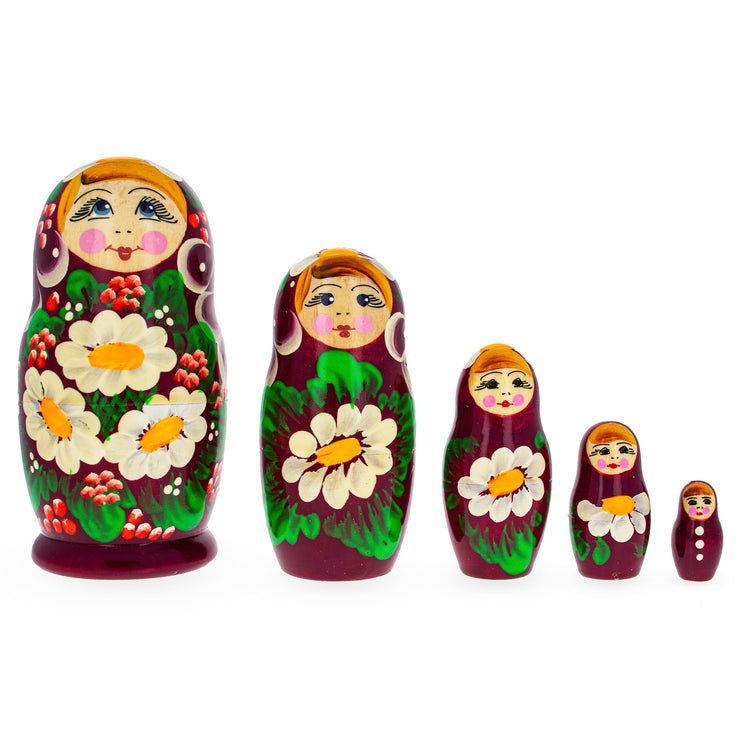 Beautiful Wooden Matryoshka with Red Color Hood and Flowers Russian Nesting Dolls by BestPysanky