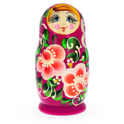 Buy Online Gift Shop Beautiful Wooden Matryoshka with Pink Color Hood and Orange Flowers Russian Nesting Dolls