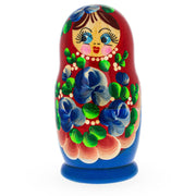 Buy Online Gift Shop Beautiful Wooden Matryoshka with Red Color Hood and Blue Flowers Russian Nesting Dolls