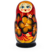 Buy Online Gift Shop Beautiful Wooden Matryoshka with Red Color Hood and Golden Flowers Russian Nesting Dolls