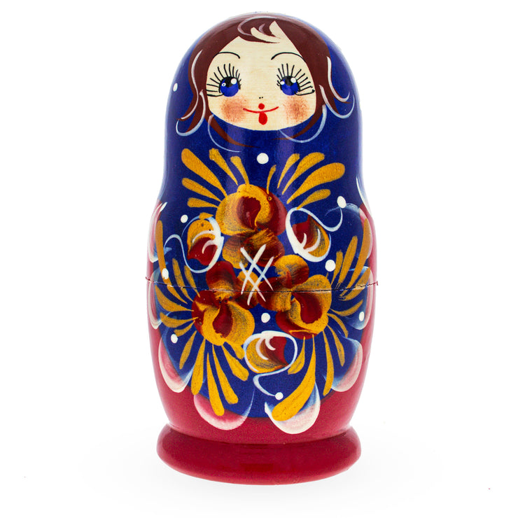 Buy Online Gift Shop Beautiful Wooden Matryoshka with Blue Color Hood and Gold Flowers Russian Nesting Dolls