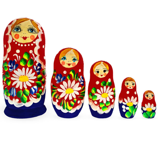 5 Pieces Daisy Multicolor Miniature Wooden Matryoshka Russian Nesting Dolls by BestPysanky