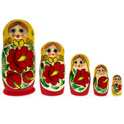 5 Pieces Poppies Wooden Matryoshka Russian Nesting Dolls by BestPysanky