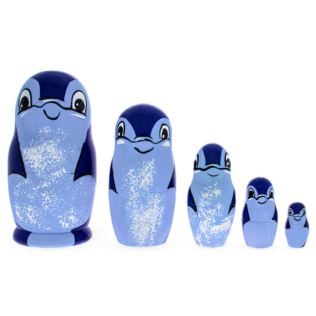 5 Pieces Dolphin Family Matryoshka Russian Wooden Nesting Dolls by BestPysanky