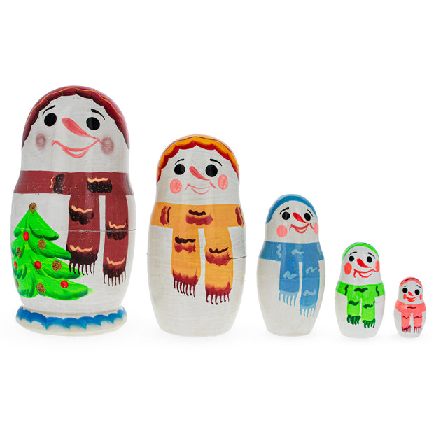 Set of 5 Pieces Snowmen Friends Russian Wooden Nesting Dolls by BestPysanky