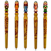 One Wooden Russian Matryoshka Doll Pen (1 Random Design) by BestPysanky