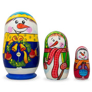 Set of 3 Snowman Family Wooden Nesting Dolls 4.25 Inches by BestPysanky