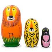 Set of 3 Wild Cats- Lion, Tiger, Puma Wooden Nesting Dolls 4.25 Inches by BestPysanky