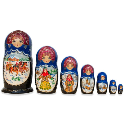 "Set of 7 ""Winter Troika"" Wooden Matryoshka Russian Nesting Dolls 8.5 Inches by BestPysanky"
