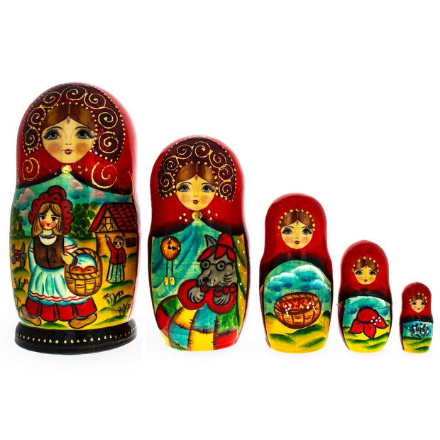 Set of 5 Little Red Riding Hood Wooden Matryoshka Russian Nesting Dolls 7 Inches by BestPysanky
