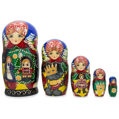 Set of 5 Nutcracker Scene Wooden Matryoshka Russian Nesting Dolls 7.25 Inches by BestPysanky