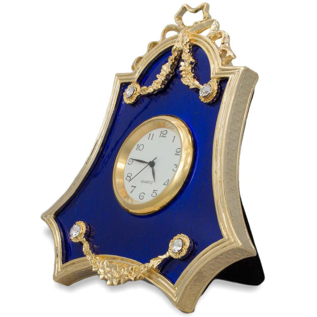 Royal Blue Guilloche Enamel Russian Antique Style Clock Frame 4 Inches by BestPysanky