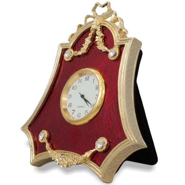 Red Enameled Guilloche Russian Royal Antique Style Clock 4 Inches by BestPysanky