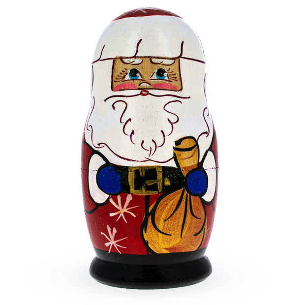 Set of 5 Santa, Snowman and Christmas Tree Matryoshka Russian Nesting Dolls