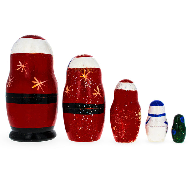 Buy Online Gift Shop Set of 5 Santa, Snowman and Christmas Tree Matryoshka Russian Nesting Dolls