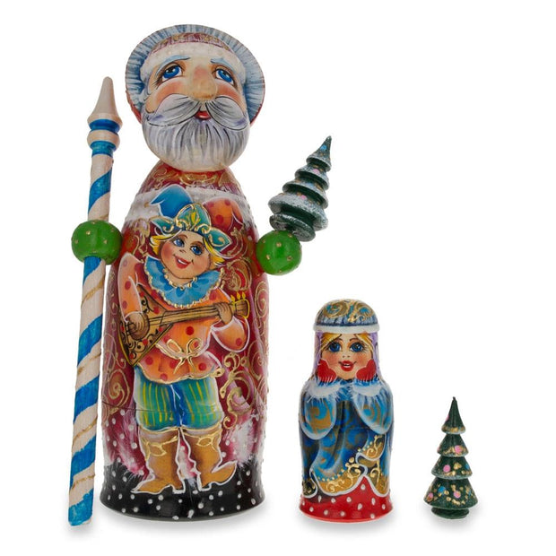Hand Carved Solid Wood Russian Santa Ded Moroz Nesting Dolls 9.5 Inches by BestPysanky