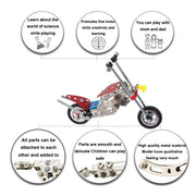 Buy Online Gift Shop Long Metal Motorcycle Chopper Bike Model Kit (105 Pieces) 7.5 Inches