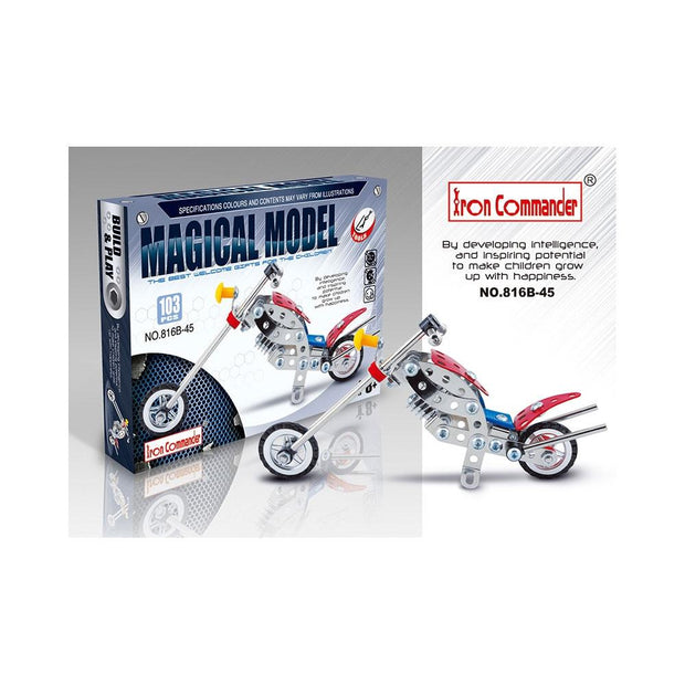 Long Metal Motorcycle Chopper Bike Model Kit (105 Pieces) 7.5 Inches