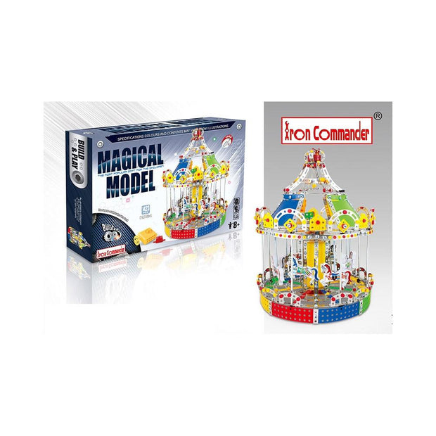 Animated Motorized Carousel Construction Model Kit (1423 Pieces)