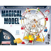 Rotating Motorized with LED Lights Metal Ferris Wheel Model Kit (954 Pieces) 14 Inches