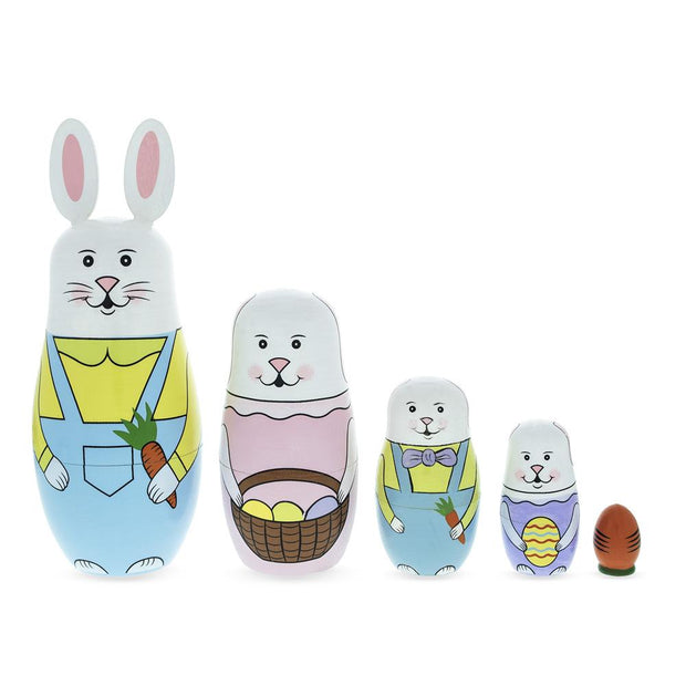 Set of 5 Bunny Family & Carrot Wooden Nesting Dolls 7 Inches Tall by BestPysanky
