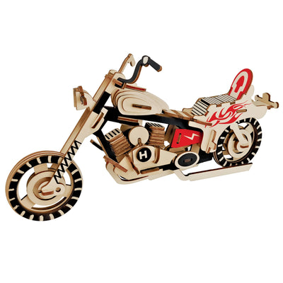 Motorcycle Bike Model Kit - Wooden Laser-Cut 3D Puzzle (65 Pcs) by BestPysanky