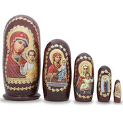 Set of 5 Virgin Mary and Jesus Russian Icons Wooden Nesting Dolls 4.5 Inches by BestPysanky