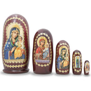 Set of 5 Mary Holding Jesus Russian Icons Wooden Nesting Dolls 4.5 Inches by BestPysanky