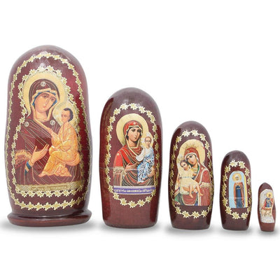 Set of 5 Maria Russian Orthodox Icon Russian Nesting Dolls 4.5 Inches by BestPysanky