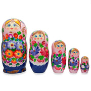 Flowers on Pink Dress Wooden Matryoshka Russian Nesting Dolls 7.25 Inches by BestPysanky