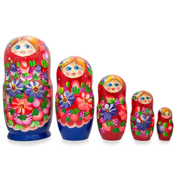 Set of 5 Flowers on Red Scarf Wooden Russian Nesting Dolls 7.25 Inches by BestPysanky