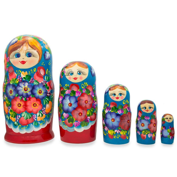 Set of 5 Flowers on Blue Dress Wooden Matryoshka Russian Nesting Dolls 7 Inches by BestPysanky