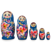 Set of 5 Floral Blue Wooden Matryoshka Russian Nesting Dolls 4.5 Inches by BestPysanky