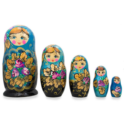 Set of 5 Floral Blue and Black Wooden Matryoshka Russian Nesting Dolls 6 Inches by BestPysanky
