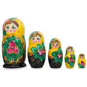 Set of 5 Floral Gold and Black Wooden Matryoshka Russian Nesting Dolls 6 Inches by BestPysanky