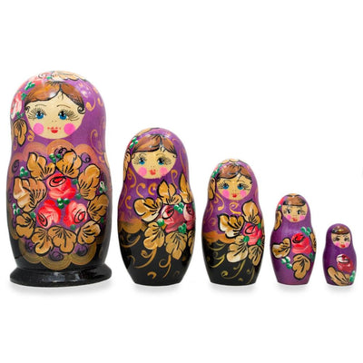 5 Floral Violet and Black Wooden Matryoshka Russian Nesting Dolls 6 Inches by BestPysanky