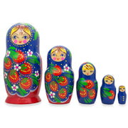 Set of 5 Berries on Blue and Red Wooden Nesting Dolls 6.5 Inches by BestPysanky