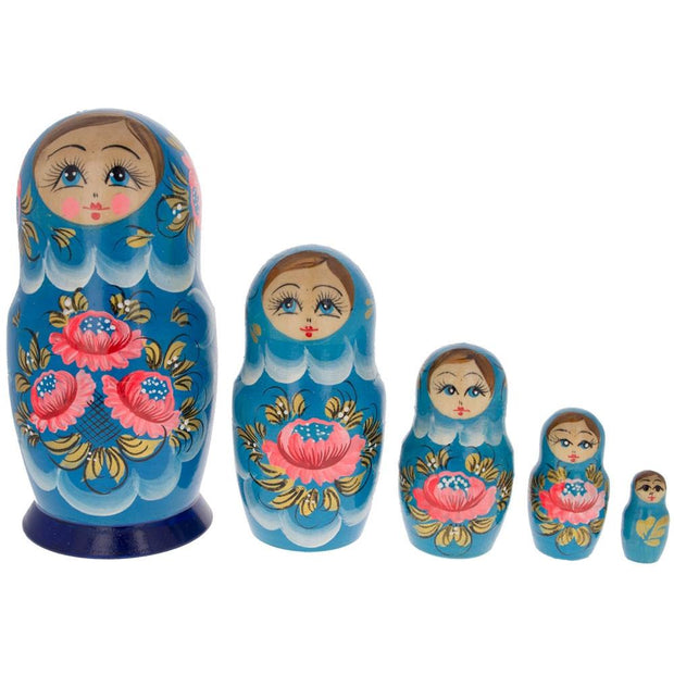 Set of 5 Dahlia Flower Blue Wooden Matryoshka Russian Nesting Dolls 6 Inches by BestPysanky