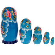 Set of 5 Dahlia Flower Blue Wooden Matryoshka Russian Nesting Dolls 6 Inches
