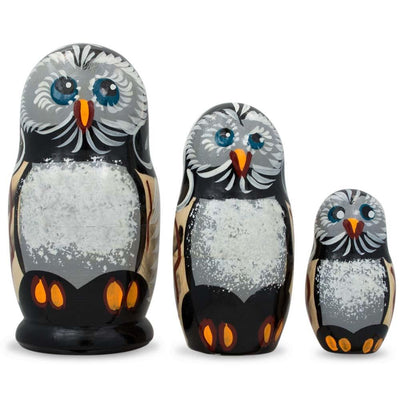 Set of 3 Owl Family Wooden Russian Nesting Dolls 4.25 Inches by BestPysanky