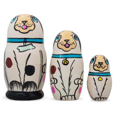3 White Dog with Bone Collar Wooden Russian Nesting Dolls Matryoshka 4.25 Inches by BestPysanky