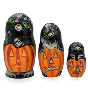 Set of 3 Black Cats and Pumpkins Halloween Wooden Nesting Dolls 4.25 Inches by BestPysanky