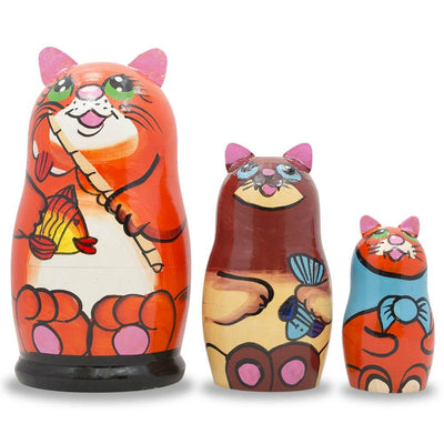 Set of 3 Cats With Fish and Rod Wooden Russian Nesting Dolls 5.5 Inches by BestPysanky